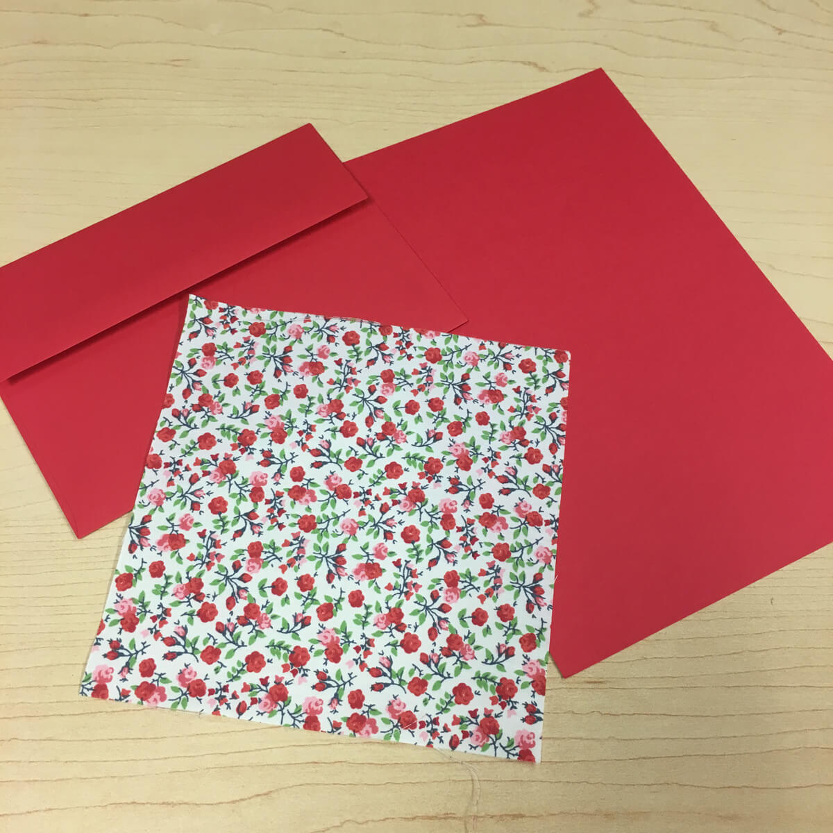 Sewn Card Red with Envelope