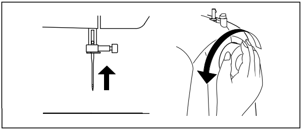 Turn the hand wheel counterclockwise until the needle is in its highest position.