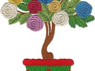 Rose Topiary Free Embroidery Design