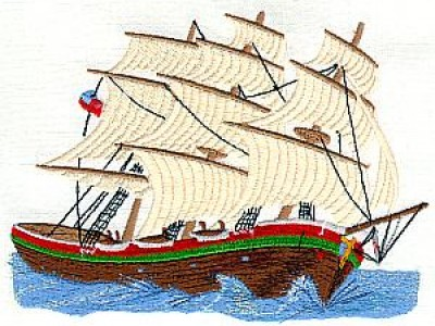 Tall Ship Free Embroidery Design