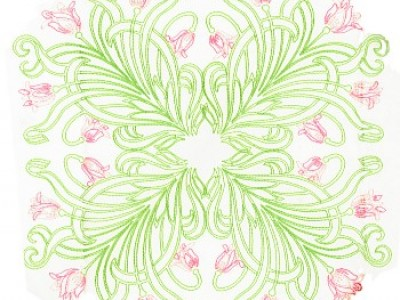 Art Deco Tulips Free Embroidery Design