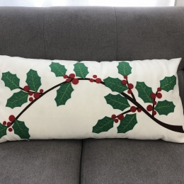Decorative Pillow with Holly Applique Embellishment