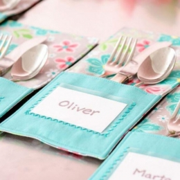 Silverware Holder with Personalized Card Insert